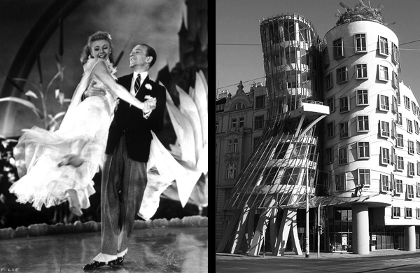 Left, Ginger Rogers and Fred Astaire; right, Dancing House, Prague, by Frank Gehry and Vlado Milunić (photo @copy; ccwrks)